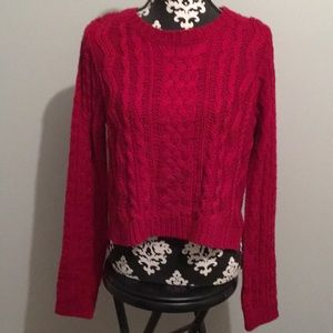 Beautiful red high low cable knit F21 sweater